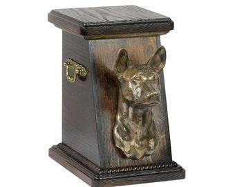 Urn for dog's ashes with a Basenji statue, ART-DOG Cremation box, Custom urn.