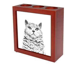 Selkirk rex shorthaired - Wooden stand for candles/pens with the image of a cat ! NEW COLLECTION!