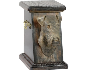 Urn for dog's ashes with a Fox Terrier wirehaired statue, ART-DOG Cremation box, Custom urn. Cremation box, Custom urn.