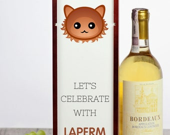 Let's celebrate with LaPerm cat. A wine box with the cute Art-Dog cat