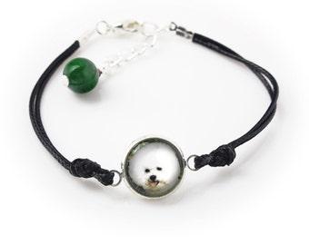 Bichon frise. Bracelet for people who love dogs. Photojewelry. Handmade.