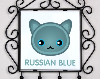 A key rack, hangers with Russian Blue cat. A new collection with the cute Art-dog cat