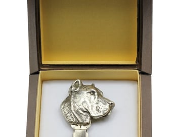 NEW, Canary Catch Dog, Canarian Molosser, dog clipring, in casket, dog show ring clip/number holder, limited edition, ArtDog