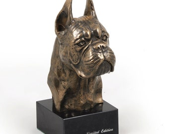 Boxer (cropped), dog marble statue, limited edition, ArtDog. Made of cold cast bronze. Perfect gift. Limited edition