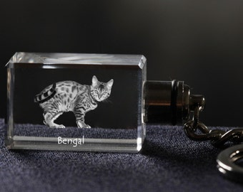 Bengal, Cat Crystal Keyring, Keychain, High Quality, Exceptional Gift