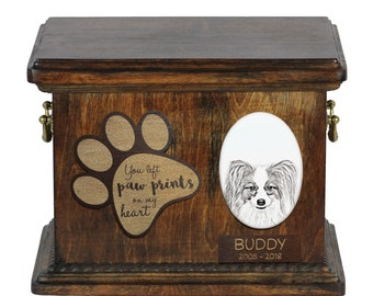 Urn for dog's ashes with ceramic plate and description - Papillon, ART-DOG Cremation box, Custom urn.