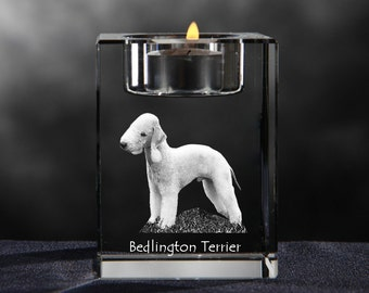 Bedlington Terrier, crystal candlestick with dog, souvenir, decoration, limited edition, Collection