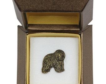 NEW, Polish Lowland Sheepdog (dark), dog pin, in casket, limited edition, ArtDog