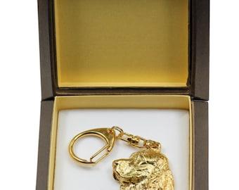 NEW, English Springer Spaniel, millesimal fineness 999, dog keyring, in casket, keychain, limited edition, ArtDog