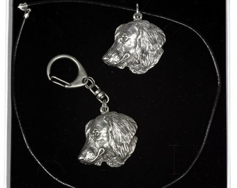 NEW, Teckel (longhaired), dog keyring and necklace in casket, ELEGANCE set, limited edition, ArtDog . Dog keyring for dog lovers