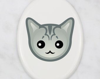 A ceramic tombstone plaque with a Burmilla cat. Art-Dog cute cat