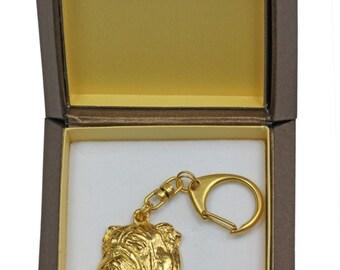 NEW, Bulldog, English Bulldog, millesimal fineness 999, dog keyring, in casket, keychain, limited edition, ArtDog