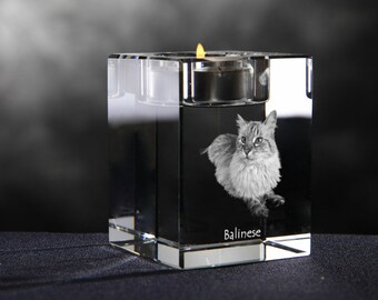 Balinese cat, crystal candlestick with cat, souvenir, decoration, limited edition, Collection