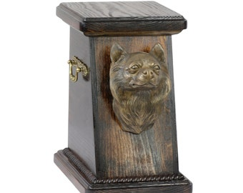 Urn for dog's ashes with a Chihuahua longhairedstatue, ART-DOG Cremation box, Custom urn. Cremation box, Custom urn.