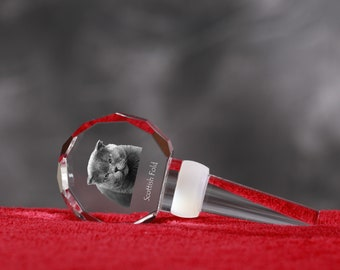 Scottish Fold, Crystal Wine Stopper with cat, Wine and Cat Lovers, High Quality, Exceptional Gift. New Collection