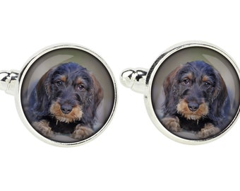 Teckel Wirehaired, Dachshund. Cufflinks for dog lovers. Photo jewellery. Men's jewellery. Handmade