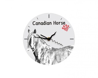 Canadian horse, Free standing MDF floor clock with an image of a horse.