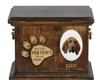 Urn for dog ashes with ceramic plate and sentence - Geometric Bloodhound, ART-DOG. Cremation box, Custom urn.