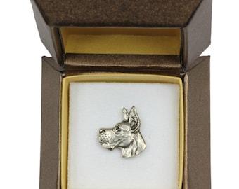 NEW, Great Dane, dog pin, in casket, limited edition, ArtDog