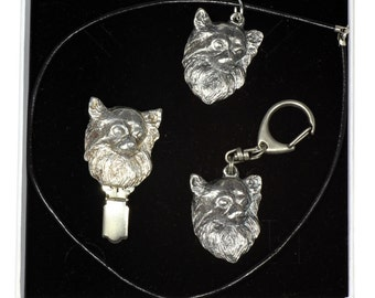 NEW, Chihuahua Longhaired, dog keyring, necklace and clipring in casket, ELEGANCE set, limited edition, ArtDog . Dog keyring for dog lovers