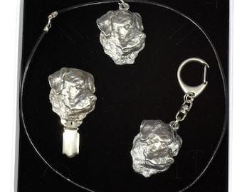 NEW, Rottweiler, dog keyring, necklace and clipring in casket, ELEGANCE set, limited edition, ArtDog . Dog keyring for dog lovers