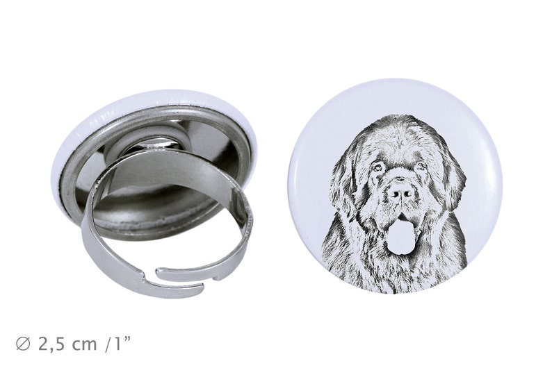 Ring with a dog Newfoundland