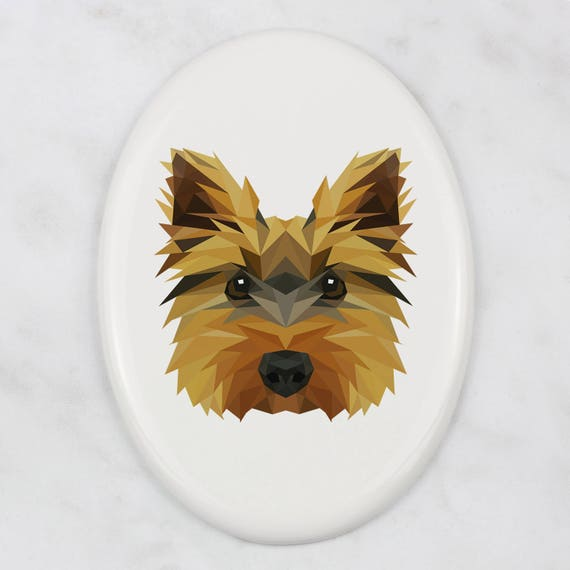 Ceramic plate with Geometric Dog Skye Terrier Tombstone Plaque with a Graphics Memorial Plaque
