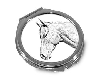 Holsteiner - Pocket mirror with the image of a horse.