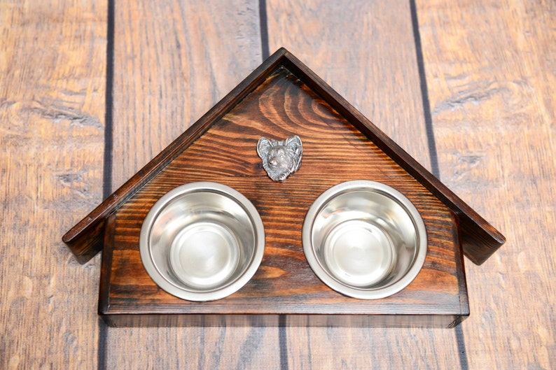 A dog\u2019s bowls with a relief from ARTDOG collection Papillon