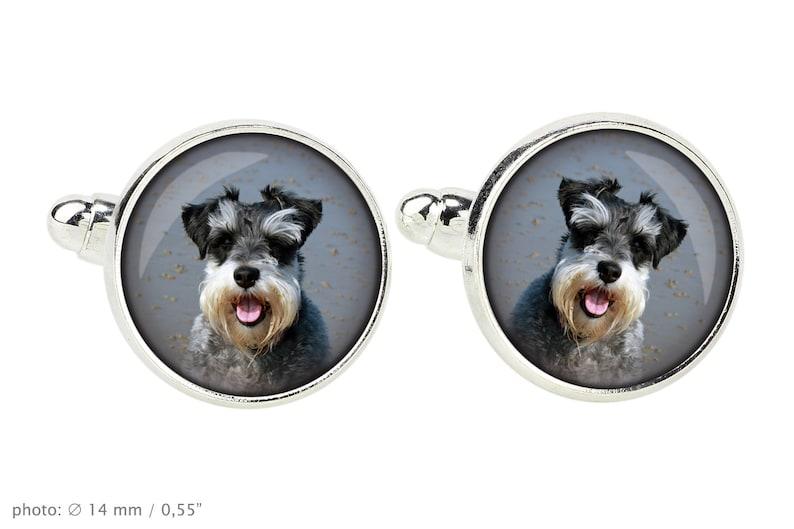 Photo jewellery Handmade Cufflinks with box for dog lovers Men/'s jewellery Schnauzer