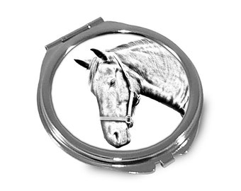 Danish Warmblood - Pocket mirror with the image of a horse.