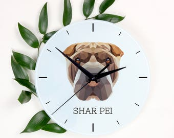 A clock with a Shar Pei dog. A new collection with the geometric dog
