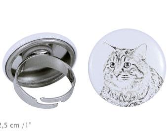 Ring with a cat - Kurilian Bobtail longhaired