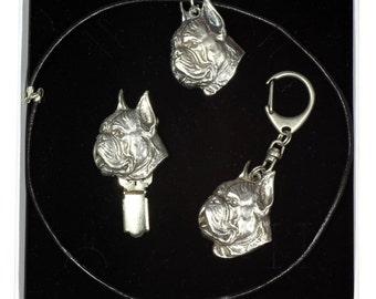 NEW, Boxer, dog keyring, necklace and clipring in casket, ELEGANCE set, limited edition, ArtDog . Dog keyring for dog lovers