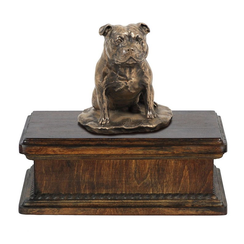 Custom urn. New model Cremation box ART-DOG Exclusive Urn for dog\u2019s ashes with a Staffordshire Bull Terrier statue