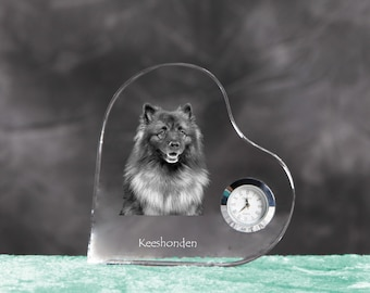 Keeshond- crystal clock in the shape of a heart with the image of a pure-bred dog.