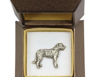 NEW, Irish Wolfhound (body), dog pin, in casket, limited edition, ArtDog
