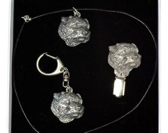 NEW, Norfolk Terrier, dog keyring, necklace and clipring in casket, ELEGANCE set, limited edition, ArtDog . Dog keyring for dog lovers