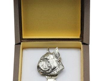 NEW, Boxer, dog clipring, in casket, dog show ring clip/number holder, limited edition, ArtDog