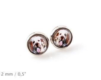 Clumber Spaniel. Pet in your ear. Earrings. Photojewelry. Handmade.