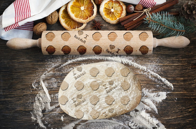 Roller for Cookies Embossed Rolling Pin Old English Sheepdog Laser Engraved Rolling Pin Engraved rolling pin with dog head silhouette