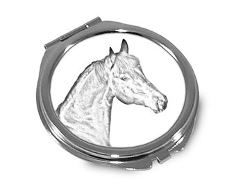 Bay   - Pocket mirror with the image of a horse.