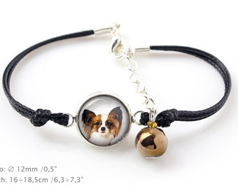 Papillon. Bracelet for people who love dogs. Photojewelry. Handmade.