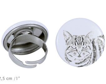 Ring with a cat - Manx cat