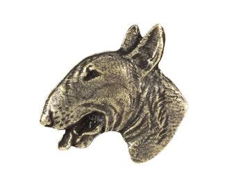 Bull Terrier (gold&head), dog pin, limited edition, ArtDog