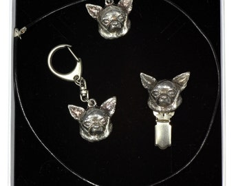 NEW, Chihuahua Smoothhaired, dog keyring, necklace and clipring in casket, ELEGANCE set, limited edition, ArtDog
