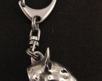 Bull terrier (3D medallion), English Bull Terrier, dog keyring, keychain, limited edition, ArtDog
