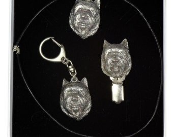 NEW, Cairn Terrier, dog keyring, necklace and clipring in casket, ELEGANCE set, limited edition, ArtDog . Dog keyring for dog lovers
