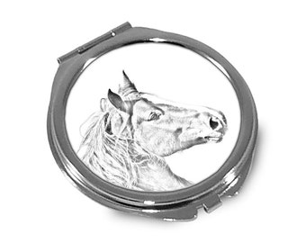 Freiberger - Pocket mirror with the image of a horse.