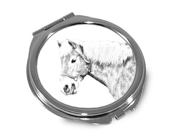 Haflinger - Pocket mirror with the image of a horse.